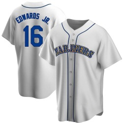 Carl Edwards Jr. Seattle Mariners Men's Replica Home Cooperstown Collection Jersey - White