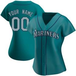Custom Seattle Mariners Women's Authentic Alternate Jersey - Aqua