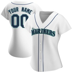Custom Seattle Mariners Women's Authentic Home Jersey - White