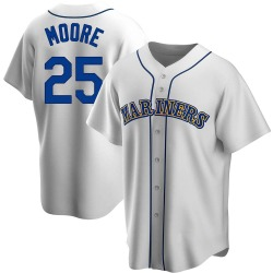 Dylan Moore Seattle Mariners Men's Replica Home Cooperstown Collection Jersey - White