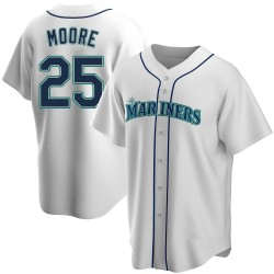 Dylan Moore Seattle Mariners Men's Replica Home Jersey - White