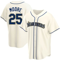Dylan Moore Seattle Mariners Youth Replica Alternate Jersey - Cream