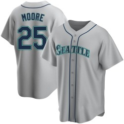 Dylan Moore Seattle Mariners Youth Replica Road Jersey - Gray