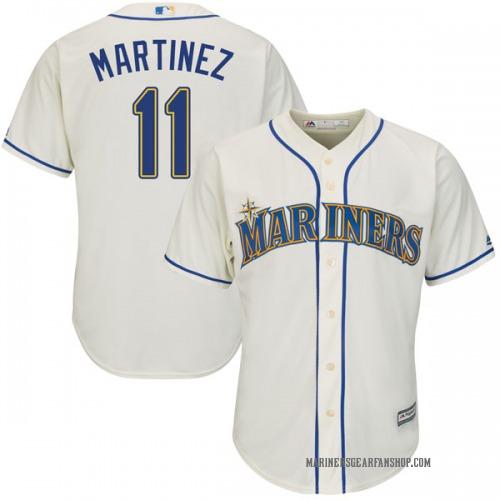 Edgar Martinez Seattle Mariners Youth Authentic Cool Base Alternate Majestic Jersey - Cream