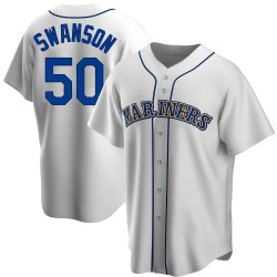 Erik Swanson Seattle Mariners Men's Replica Home Cooperstown Collection Jersey - White
