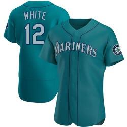 Evan White Seattle Mariners Men's Authentic Aqua Alternate Jersey - White