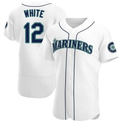 Evan White Seattle Mariners Men's Authentic Home Jersey - White