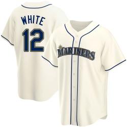 Evan White Seattle Mariners Men's Replica Cream Alternate Jersey - White