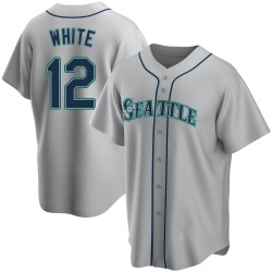 Evan White Seattle Mariners Men's Replica Gray Road Jersey - White
