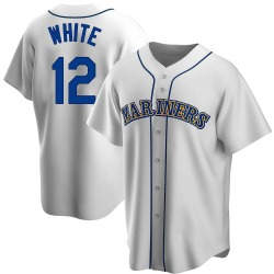 Evan White Seattle Mariners Men's Replica Home Cooperstown Collection Jersey - White