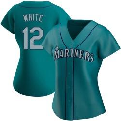 Evan White Seattle Mariners Women's Authentic Aqua Alternate Jersey - White