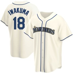 Hisashi Iwakuma Seattle Mariners Youth Replica Alternate Jersey - Cream