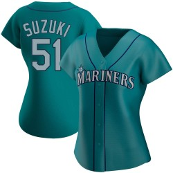 Ichiro Suzuki Seattle Mariners Women's Authentic Alternate Jersey - Aqua