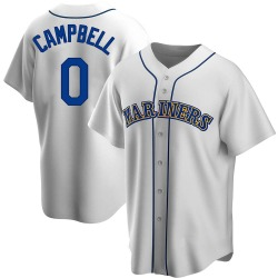 Isaiah Campbell Seattle Mariners Men's Replica Home Cooperstown Collection Jersey - White