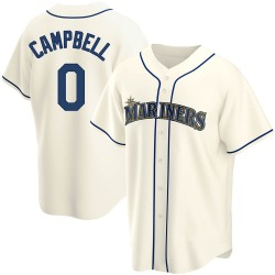 Isaiah Campbell Seattle Mariners Youth Replica Alternate Jersey - Cream