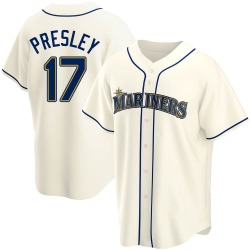 Jim Presley Seattle Mariners Men's Replica Alternate Jersey - Cream