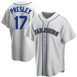 Jim Presley Seattle Mariners Men's Replica Home Cooperstown Collection Jersey - White