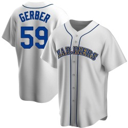 Joey Gerber Seattle Mariners Men's Replica Home Cooperstown Collection Jersey - White