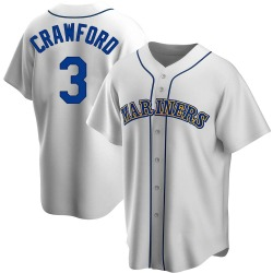 J.P. Crawford Seattle Mariners Men's Replica Home Cooperstown Collection Jersey - White