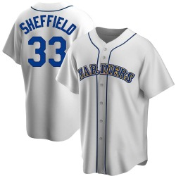 Justus Sheffield Seattle Mariners Men's Replica Home Cooperstown Collection Jersey - White