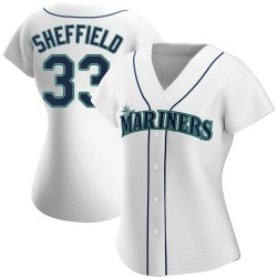 Justus Sheffield Seattle Mariners Women's Authentic Home Jersey - White