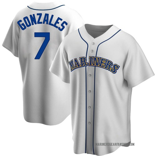 Marco Gonzales Seattle Mariners Men's Replica Home Cooperstown Collection Jersey - White