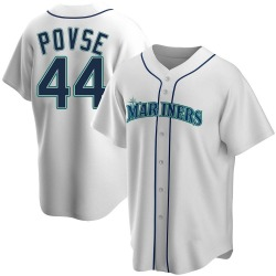 Max Povse Seattle Mariners Youth Replica Home Jersey - White