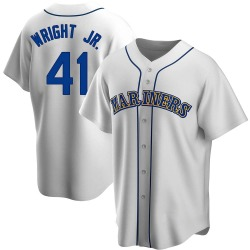 Mike Wright Jr. Seattle Mariners Men's Replica Home Cooperstown Collection Jersey - White