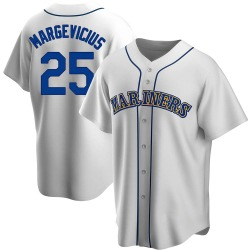 Nick Margevicius Seattle Mariners Men's Replica Home Cooperstown Collection Jersey - White