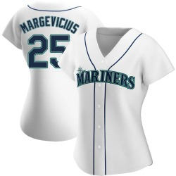 Nick Margevicius Seattle Mariners Women's Authentic Home Jersey - White