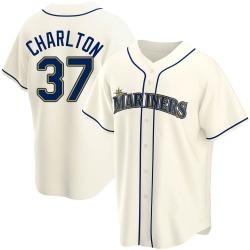 Norm Charlton Seattle Mariners Youth Replica Alternate Jersey - Cream