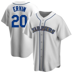 Phillip Ervin Seattle Mariners Men's Replica Home Cooperstown Collection Jersey - White