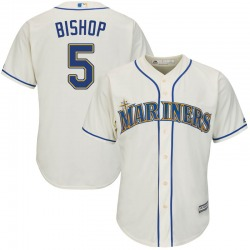 Braden Bishop Seattle Mariners Youth Replica Majestic Cool Base Alternate Jersey - Cream