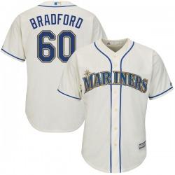 Chasen Bradford Seattle Mariners Youth Replica Cool Base Alternate Majestic Jersey - Cream