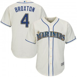 Keon Broxton Seattle Mariners Youth Replica Majestic Cool Base Alternate Jersey - Cream