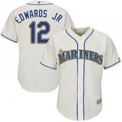 Carl Edwards Jr. Seattle Mariners Youth Replica Majestic Cool Base Alternate Jersey - Cream