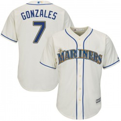 Marco Gonzales Seattle Mariners Youth Replica Majestic Cool Base Alternate Jersey - Cream