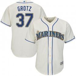 Zac Grotz Seattle Mariners Youth Replica Majestic Cool Base Alternate Jersey - Cream