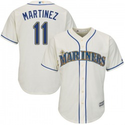 Edgar Martinez Seattle Mariners Youth Replica Cool Base Alternate Majestic Jersey - Cream