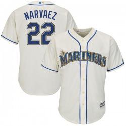 Omar Narvaez Seattle Mariners Youth Replica Majestic Cool Base Alternate Jersey - Cream