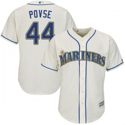 Max Povse Seattle Mariners Youth Replica Cool Base Alternate Majestic Jersey - Cream