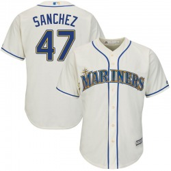 Ricardo Sanchez Seattle Mariners Youth Replica Majestic Cool Base Alternate Jersey - Cream