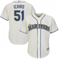 Ichiro Suzuki Seattle Mariners Youth Replica Cool Base Alternate Majestic Jersey - Cream