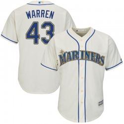 Arthur Warren Seattle Mariners Youth Replica Majestic Cool Base Alternate Jersey - Cream