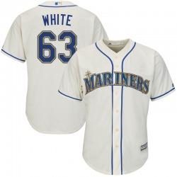 Evan White Seattle Mariners Youth Replica Majestic Cool Base Cream Alternate Jersey - White