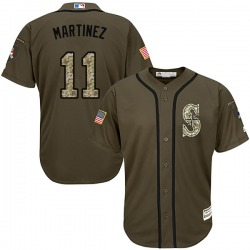 Edgar Martinez Seattle Mariners Men's Authentic Salute to Service Majestic Jersey - Green