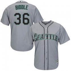 Jesse Biddle Seattle Mariners Youth Replica Majestic Cool Base Road Jersey - Gray