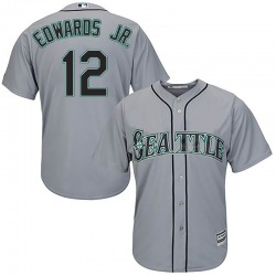 Carl Edwards Jr. Seattle Mariners Youth Replica Majestic Cool Base Road Jersey - Gray