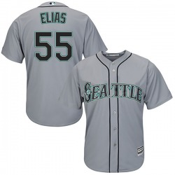 Roenis Elias Seattle Mariners Youth Replica Majestic Cool Base Road Jersey - Gray