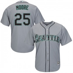 Dylan Moore Seattle Mariners Youth Replica Majestic Cool Base Road Jersey - Gray